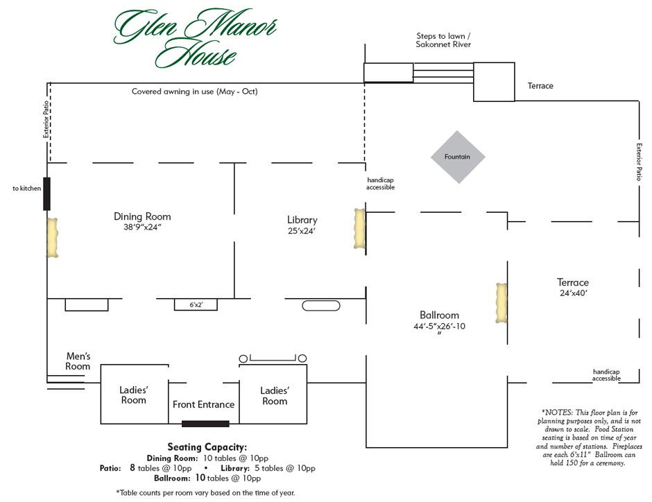 Floor Plan Glen Manor House Weddings and Special Events