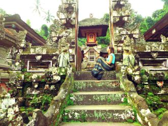 Reflecting in a Balinese temple