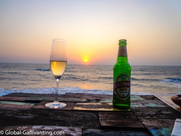 Enjoying a beer at sunset in Goa