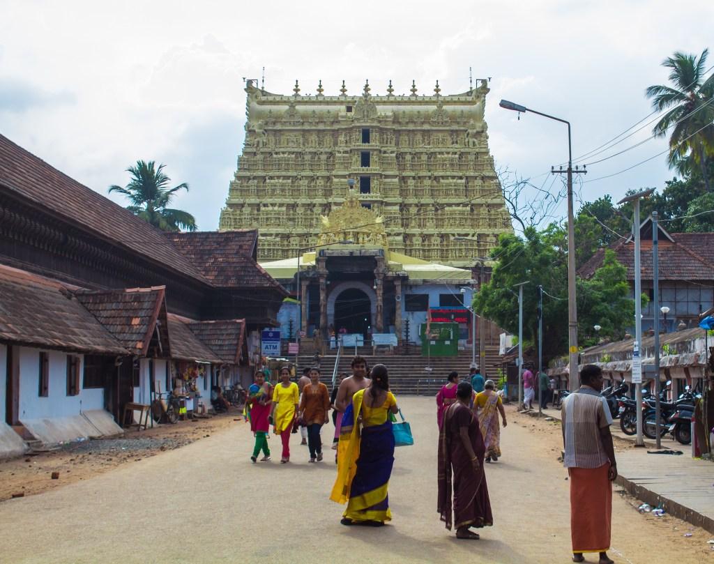 The golden Shri Padmanabhaswamy temple in Trivandrum