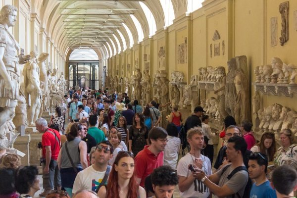 The crowded corridors of the Vatican Museums