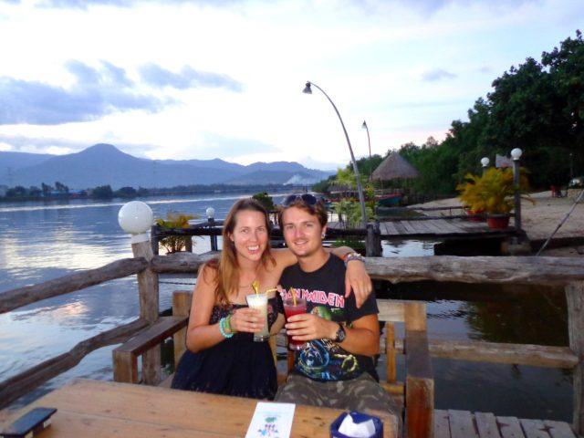 sunset drinks on kampot river