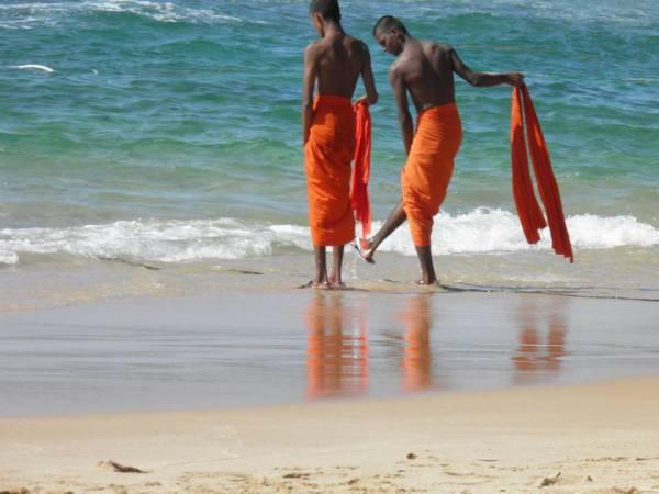 Monks on the beach in Sri Lanka