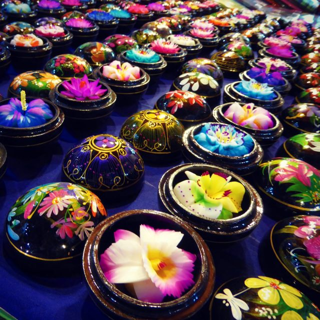 Beautiful flower carved soaps for sale in the market at Chiang Mai