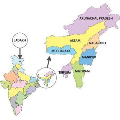 map of north east india