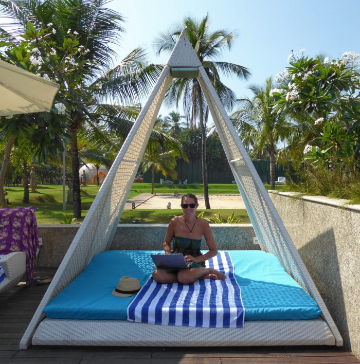Anna conducting a hotel review and blogging from Planet Hollywood Resort in Goa