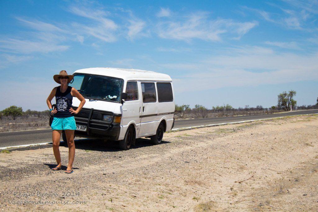 Driving across outback Australia in our campervan
