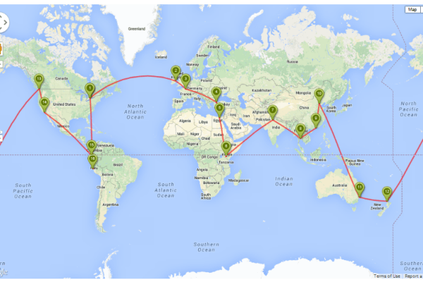 Our Round the World travel route
