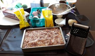 Making the dulce de leche cake