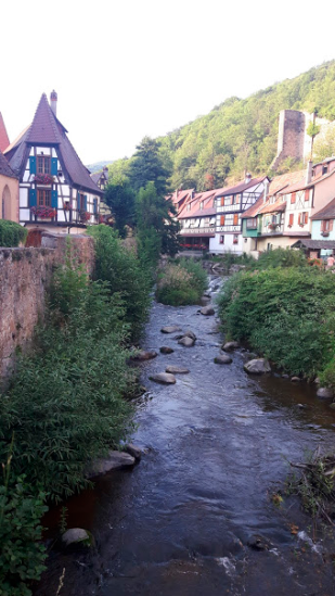 A stream flowing through the town