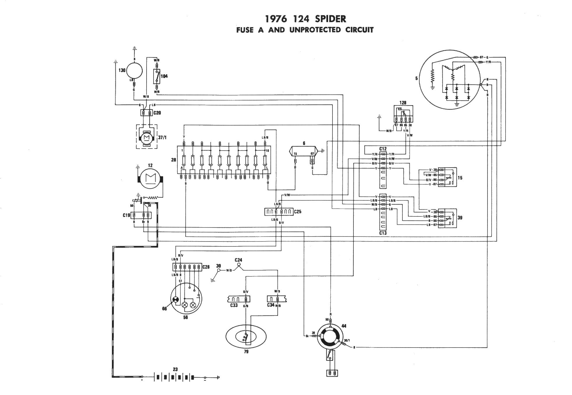 1986 fiat x1 9 wiper fuse box diagram