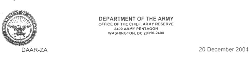 MEMORANDUM Readiness of the United States Army Reserve - army memo