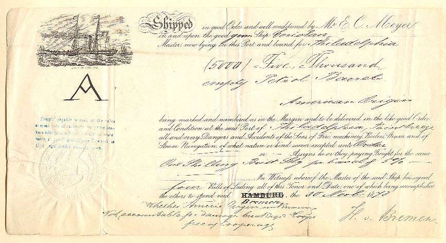 19th Century Shipping Papers
