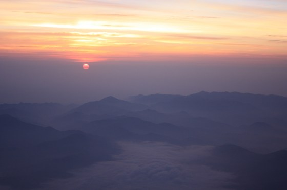 Soleil levant - Fuji - Japon