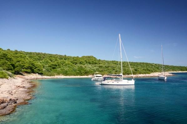 Yachts anchored by Pakleni or Paklinski islands, Hvar, Croatia,