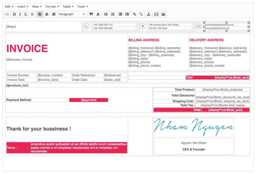 Prestashop Custom Invoice  Delivery Template Module - Advanced PDF