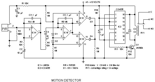 infrared motion work electronic circuit schematic wiring diagram