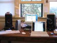 Larry's computer setup in home office for cataloging