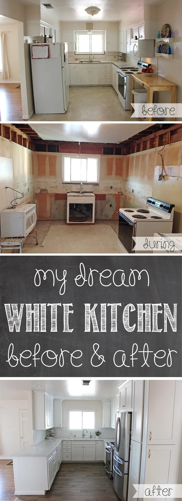 my dream white kitchen remodel kitchen cost GORGEOUS Kitchen Remodel Lots of before and after photos tips for remodeling cost