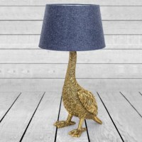 Vintage Gold Goose Table Lamp with Grey Shade