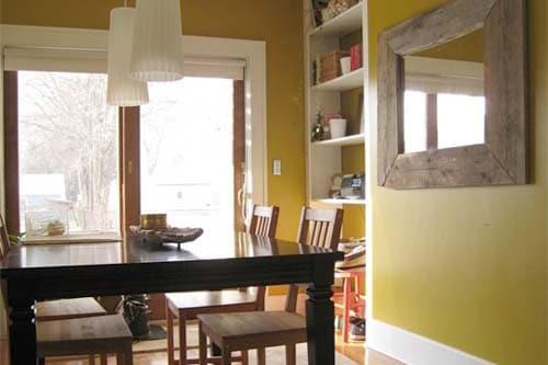 mustard yellow dining room
