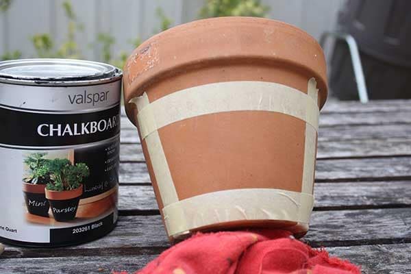 chalkboard pot taped