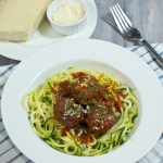 Zoodles (Zucchini Noodles) And Gluten Free Meatballs