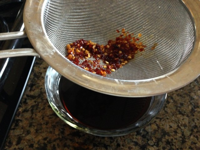 Remove the red chili seeds half way through the cooking process