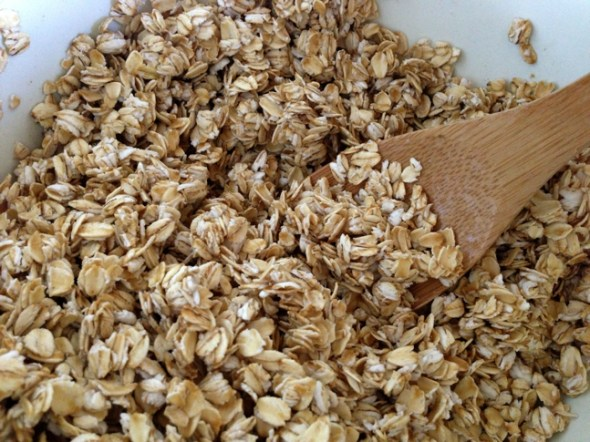 Gluten-free oats mixed with almond milk