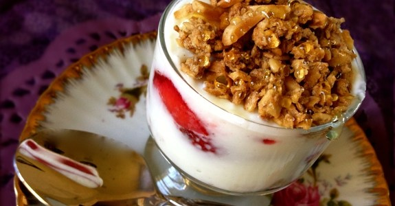 Enjoy a yummy breakfast or snack with vanilla yogurt, fresh strawberries, and chai-spiced granola with a drizzle of honey.