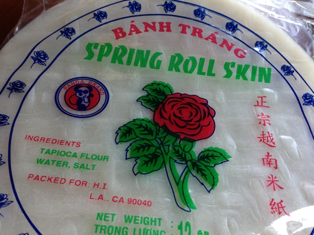 Spring roll skins are usually made from tapioca starch, water and salt. To purchase them you can click here.