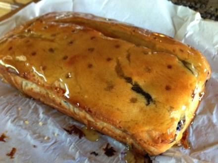 Glazing a Lemon-Blueberry Loaf