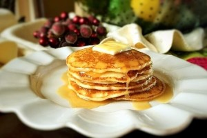 GF Pancakes with Eggnog Syrup