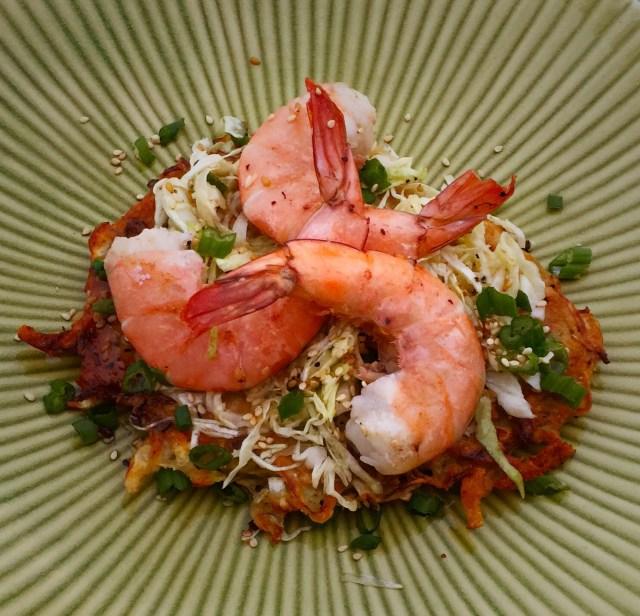 Savory Pancakes with Asian Slaw & Shrimp
