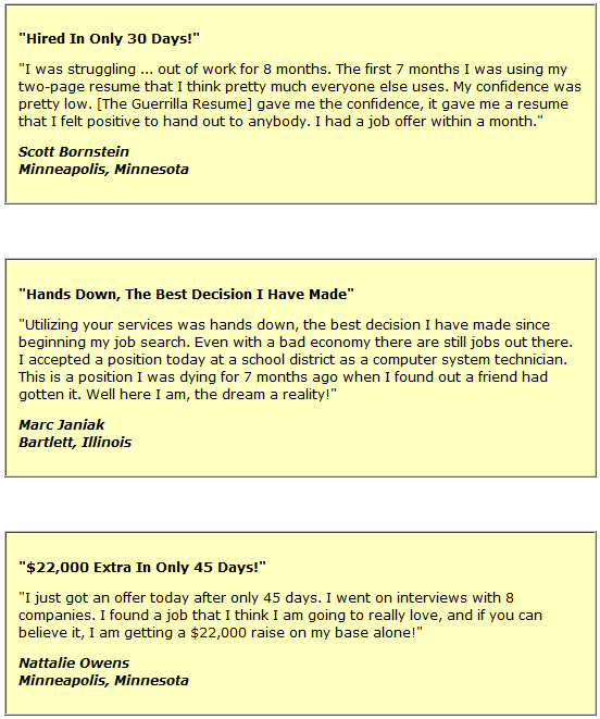 Guerrilla resume