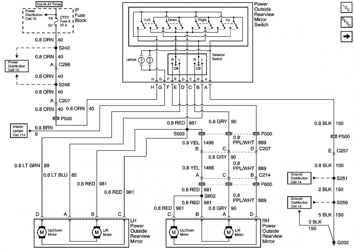 gm power mirror wiring diagram
