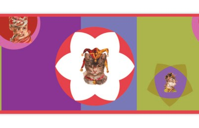 Poppige Tapetenborte mit verkleideten Katzen
