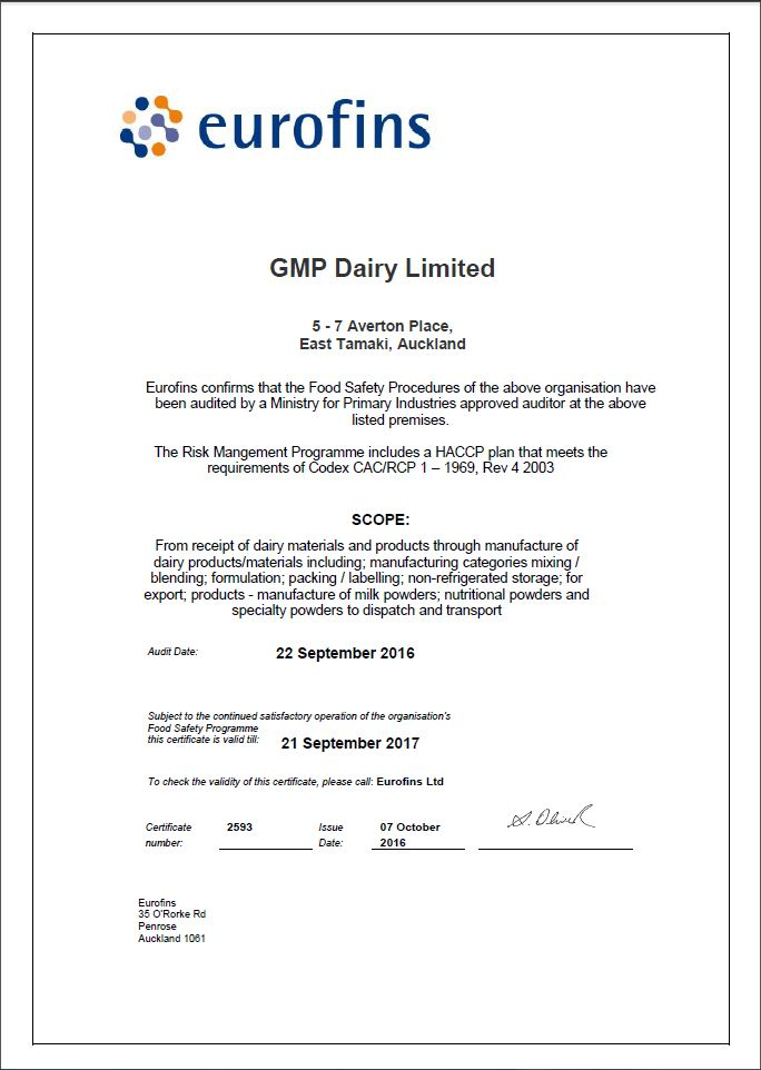 GMP Dairy - certificate of recommendation sample