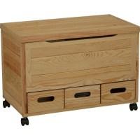 Wooden 3 Drawer Storage Chest on Wheels - Pine - Storage ...