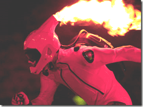 I'm really not sure how this ties in, but it is pretty epic and I plan to make a character that rollerblades with a fire helmet at least  once in their life.