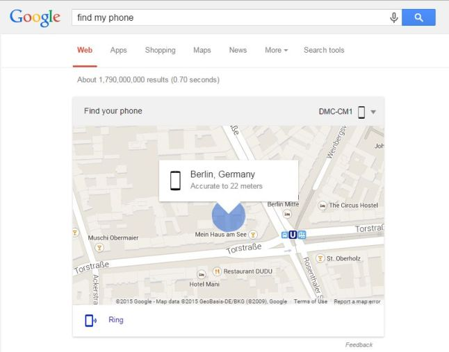 Android Geräte-Manager in der Google SUche