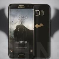 Batman telefoniert mit einem Samsung Galaxy S7 edge
