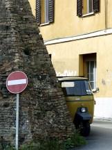 Ape sneeking round the corner, Perugia, Italy