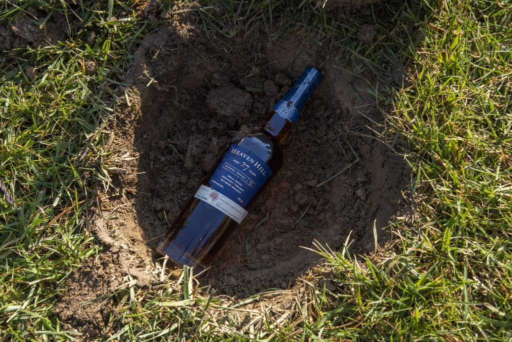 Heaven Hill buries a bottle of their 27-Year Bourbon.