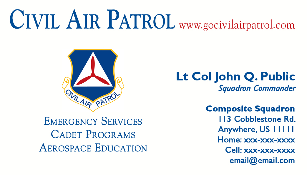 Business Card Templates Civil Air Patrol National Headquarters