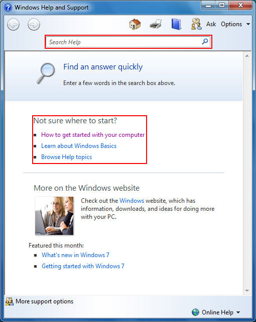 Using The Windows 7 Help and Support Center - help and support