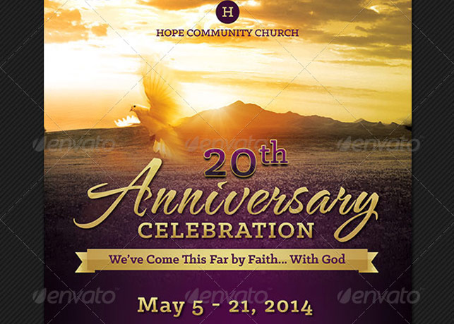 Church Anniversary Events Rack Card Template Godserv