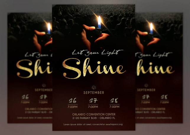 Shine Church Flyer Poster Photoshop Godserv Market