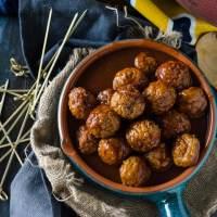 Dr Pepper Meatballs with Sriracha Fried Mac & Cheese Balls