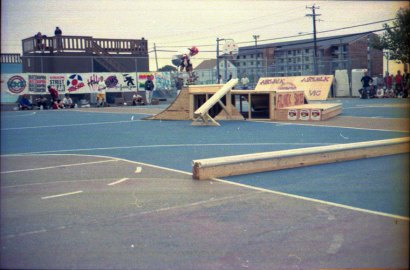 A street contest in the court next to the Ocean Bowl, 1988ish.